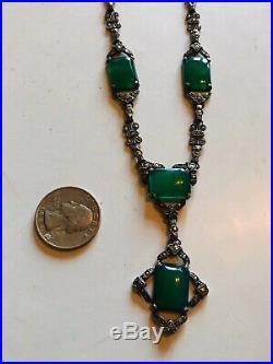 Antique Art Deco Chrysoprase Necklace Sterling Silver Marcasite Lavalier Drop