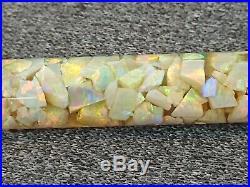 Antique Art Deco Floating Opal Pendant Lavalier Gold Filled Chain Necklace