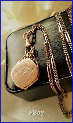 Antique Art Deco Gold Gf Opal Starburst Locket Muff / Watch Chain Necklace