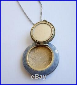 Antique Art Deco Guilloche Silver Pocket Mirror Compact Pendant Locket Necklace