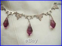 Antique Art Deco Jewellery Sterling Silver Amethyst Paste Drops Vintage Necklace