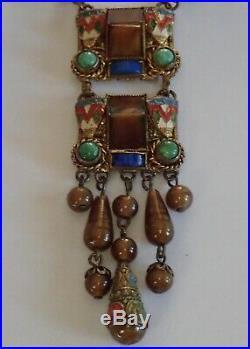 Antique Art Deco Neiger Bros Brass Enamel Brown Green Blue Czech Glass Necklace