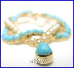 Antique Art Deco Persian Turquoise Pearl 18K Yellow Gold Star Of David Necklace