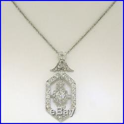 Antique Art Deco Platinum 3.05ctw Old European Diamond Daisy Necklace Pendant