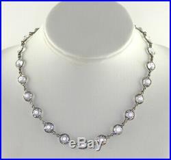 Antique Art Deco Sterling Silver Bezel set Crystal Rhinestone Necklace 16L