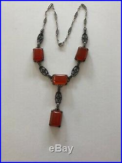 Antique Art Deco Sterling Silver Marcasite Carnelian Necklace with Drop 15 1/2