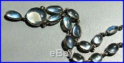 Antique Art Deco Sterling Silver Natural Blue Moonstone Festoon Necklace