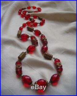Antique Art Deco Vintage Neiger Bros Egyptian Revival Enamel Glass Necklace
