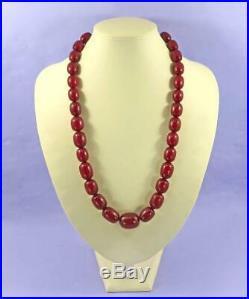 Antique Cherry Amber Bakelite Barrel Beads Necklace 86 Grams Art Deco