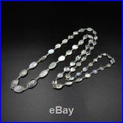 Antique Moonstone Sterling Silver Long Riviere Necklace Edwardian Art Deco 28