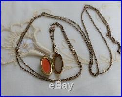 Antique Victorian Art Deco Gold Filled Locket Necklace Paste & Pearl Slide Chain