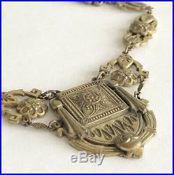 Antique Victorian Art Deco Lavalier Ornate Brass Links & Pendant Necklace Rare