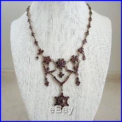 Antique Victorian Garnet Lavalier Necklace Bohemian Gold Fill Art Deco Vtg 1900s
