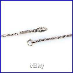 Antique Vintage Art Deco 10k White Gold Chinese Fancy Link Chain Womens Necklace