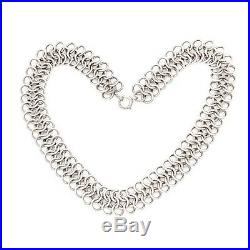 Antique Vintage Art Deco Sterling 925 Silver Hand Woven Chain Mail Link Necklace
