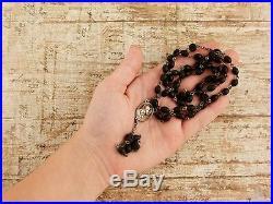 Antique Vintage Art Deco Sterling Silver Carved Ebony Wood Jesus Rosary Necklace