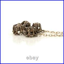Antique Vintage Art Deco Sterling Silver Georgian Rose Cut Diamond Necklace 6.4g