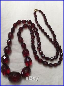 Antique bakelite 1920s Art Deco red cherry faux amber long bead necklace faceted