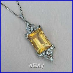 Art Deco 13ct Citrine Diamond Gold Pendant 1920s Necklace Antique Vintage
