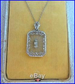 Art Deco 14K White Gold Filigree Camphor Glass Drop Necklace w 3 Diamonds