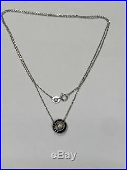 Art Deco 14K White Gold Sapphire and Diamond Circle Pendant Necklace
