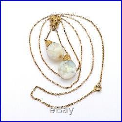 Art Deco 14k Gold Horace Welch Floating Opal Dangle Pendant Lavalier Necklace