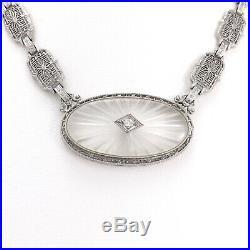 Art Deco 14k White Gold Camphor Glass Diamond Filigree Link Choker Necklace