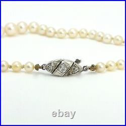 Art Deco 14k White Gold Mine Cut Diamond Clasp Akoya Pearl Graduated Necklace