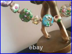 Art Deco 1920/30 Venetian Murano Glass Flat Bead Necklace Wedding Cake Lamp Work