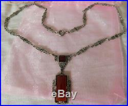 Art Deco 1920 Carnelian, Sterling Silver, Marcasite Pendant Necklace Signed