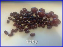 Art Deco Bakelite Cherry Amber Beads 78 Grams Marbled
