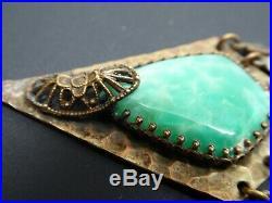 Art Deco Brass Filigree Green Czech Art Glass Dangle Earring Necklace Set 24