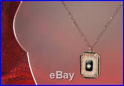 Art Deco CAMPHOR GLASS Necklace 1930s STERLING ONYX & Enamel Sunray Crystal 17