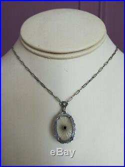 Art Deco CAMPHOR GLASS Necklace 1930s Sunray Crystal Fabulous