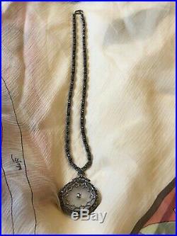 Art Deco Camphor Glass Necklace 1930s Sterling Marcasite Antique Judith Jack