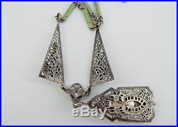 Art Deco Chrysoprase Green Glass, Enamel, & Silver Plate Filigree Necklace