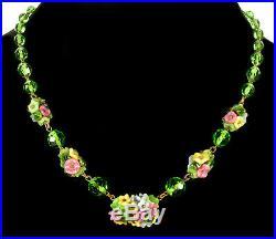 Art Deco Czech Glass Brass Flower Necklace
