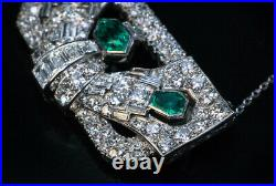 Art Deco Emerald Diamond Brooch Pin / Pendant In 14K White Gold Over 18Necklace