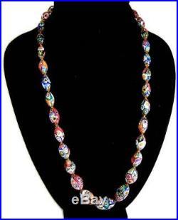 Art Deco Ercole Moretti & Co Murano Venetian Glass Millefiori Bead Necklace