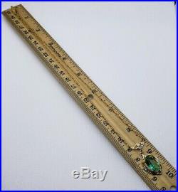 Art Deco Filigree Czech Glass Lavaliere Necklace Silver & Gold Tone
