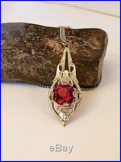 Art Deco Filigree Garnet Czech Glass Lavaliere Necklace