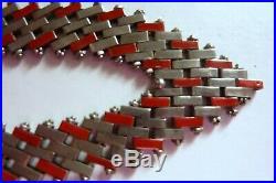 Art Deco Jakob Bengel Modernist Machine Age Brickwork Chrome Necklace (signed)