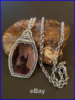 Art Deco Large Filigree Czech Glass Lavaliere Necklace