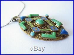 Art Deco Max Neiger Enamel Peking Glass Jade Lapis Filigree Pendant Necklace