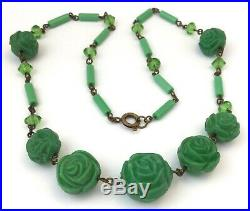 Art Deco Necklace Molded Green Glass Rose Bead Vintage Costume Jewelry