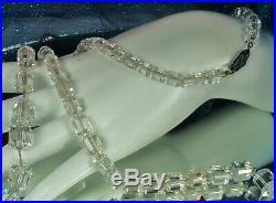 Art Deco Necklace QUARTZ ROCK CRYSTAL Gemstone 1930s STERLING Super LONG 32 Fab