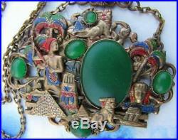 Art Deco Neiger Brothers Egyptian Revival Jade Glass Pendant Necklace Czech