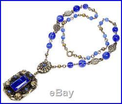 Art Deco Neiger Royal Blue Glass Filigree Czech Lavalier Necklace