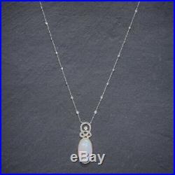 Art Deco Opal Diamond Pendant Necklace 18ct Gold Platinum 15ct Opal Circa 1930 B
