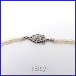 Art Deco Platinum Akoya Pearl AA Grade High Luster Graduated Diamond Necklace
